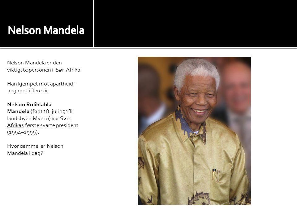 Nelson Mandela er den viktigste personen i lSør-Afrika.