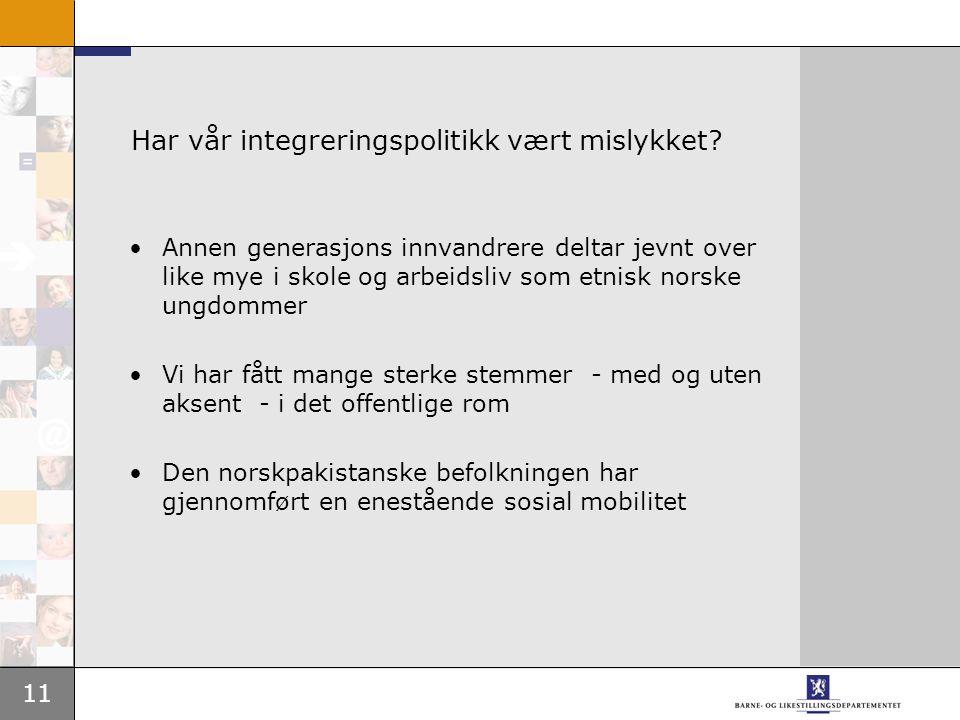 11 Har vår integreringspolitikk vært mislykket.