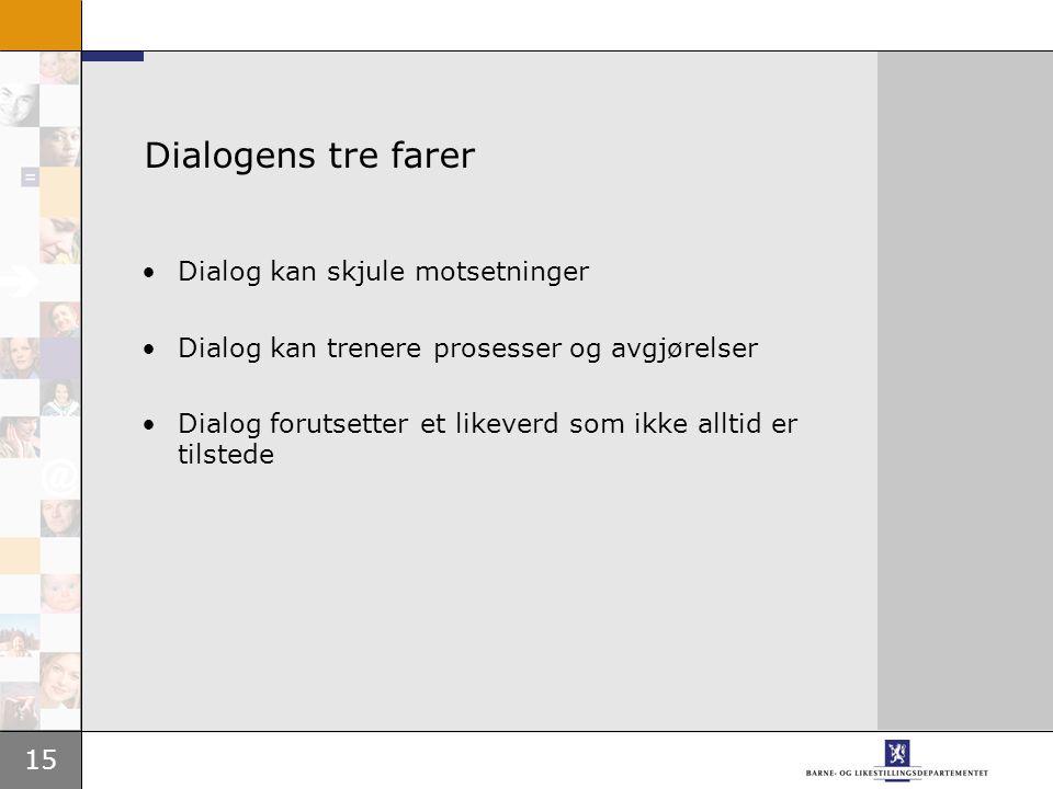 15 Dialogens tre farer Dialog kan skjule motsetninger Dialog kan trenere prosesser og avgjørelser Dialog forutsetter et likeverd som ikke alltid er tilstede