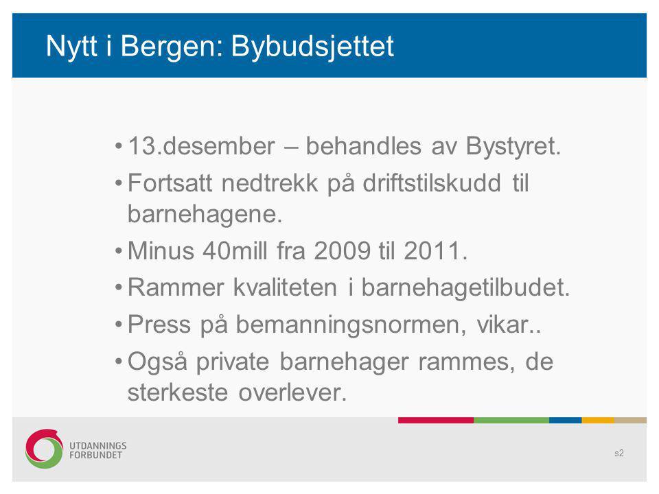 Nytt i Bergen: Bybudsjettet 13.desember – behandles av Bystyret. Fortsatt nedtrekk på driftstilskudd til barnehagene. Minus 40mill fra 2009 til 2011.