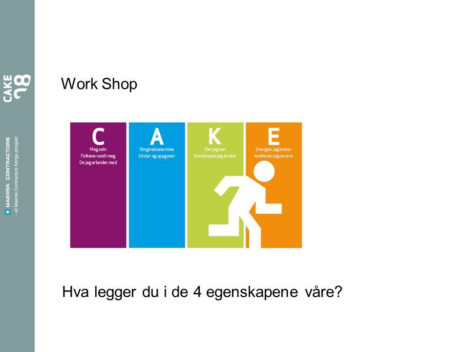 Work Shop Hva legger du i de 4 egenskapene våre?