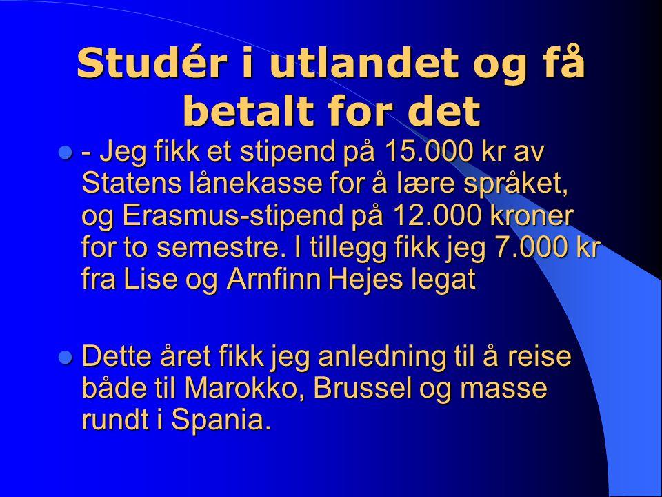Studér i utlandet og få betalt for det - Jeg fikk et stipend på 15.000 kr av Statens lånekasse for å lære språket, og Erasmus-stipend på 12.000 kroner for to semestre.