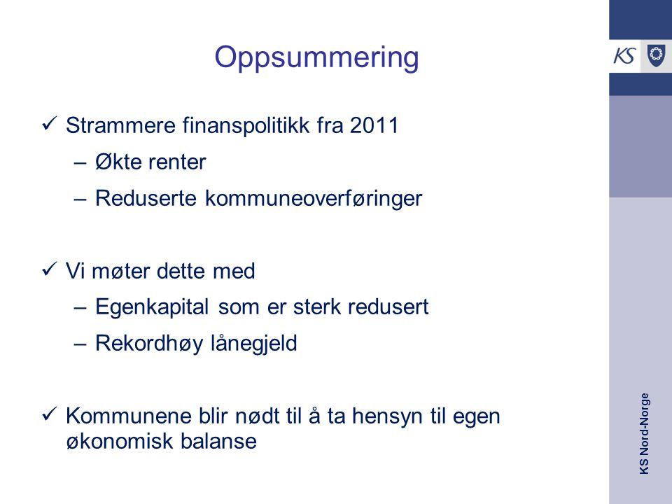 KS Nord-Norge Oppsummering Strammere finanspolitikk fra 2011 –Økte renter –Reduserte kommuneoverføringer Vi møter dette med –Egenkapital som er sterk redusert –Rekordhøy lånegjeld Kommunene blir nødt til å ta hensyn til egen økonomisk balanse