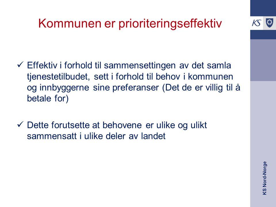 KS Nord-Norge Kommunen er prioriteringseffektiv Effektiv i forhold til sammensettingen av det samla tjenestetilbudet, sett i forhold til behov i kommu