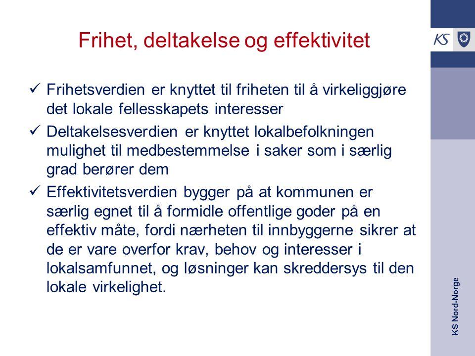 KS Nord-Norge Frihet, deltakelse og effektivitet Frihetsverdien er knyttet til friheten til å virkeliggjøre det lokale fellesskapets interesser Deltakelsesverdien er knyttet lokalbefolkningen mulighet til medbestemmelse i saker som i særlig grad berører dem Effektivitetsverdien bygger på at kommunen er særlig egnet til å formidle offentlige goder på en effektiv måte, fordi nærheten til innbyggerne sikrer at de er vare overfor krav, behov og interesser i lokalsamfunnet, og løsninger kan skreddersys til den lokale virkelighet.