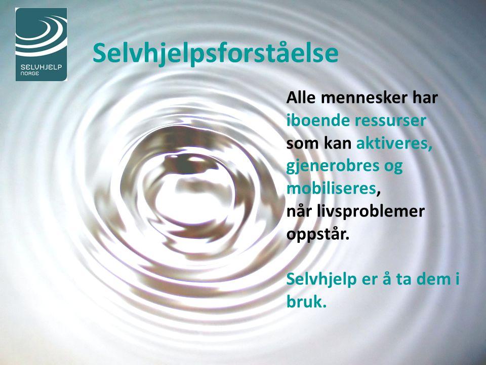 Selvorganisert selvhjelp Selvhjelp er å ta tak i egne muligheter finne fram til egne ressurser, ta ansvar for livet sitt og selv styre det i den retning en ønsker.