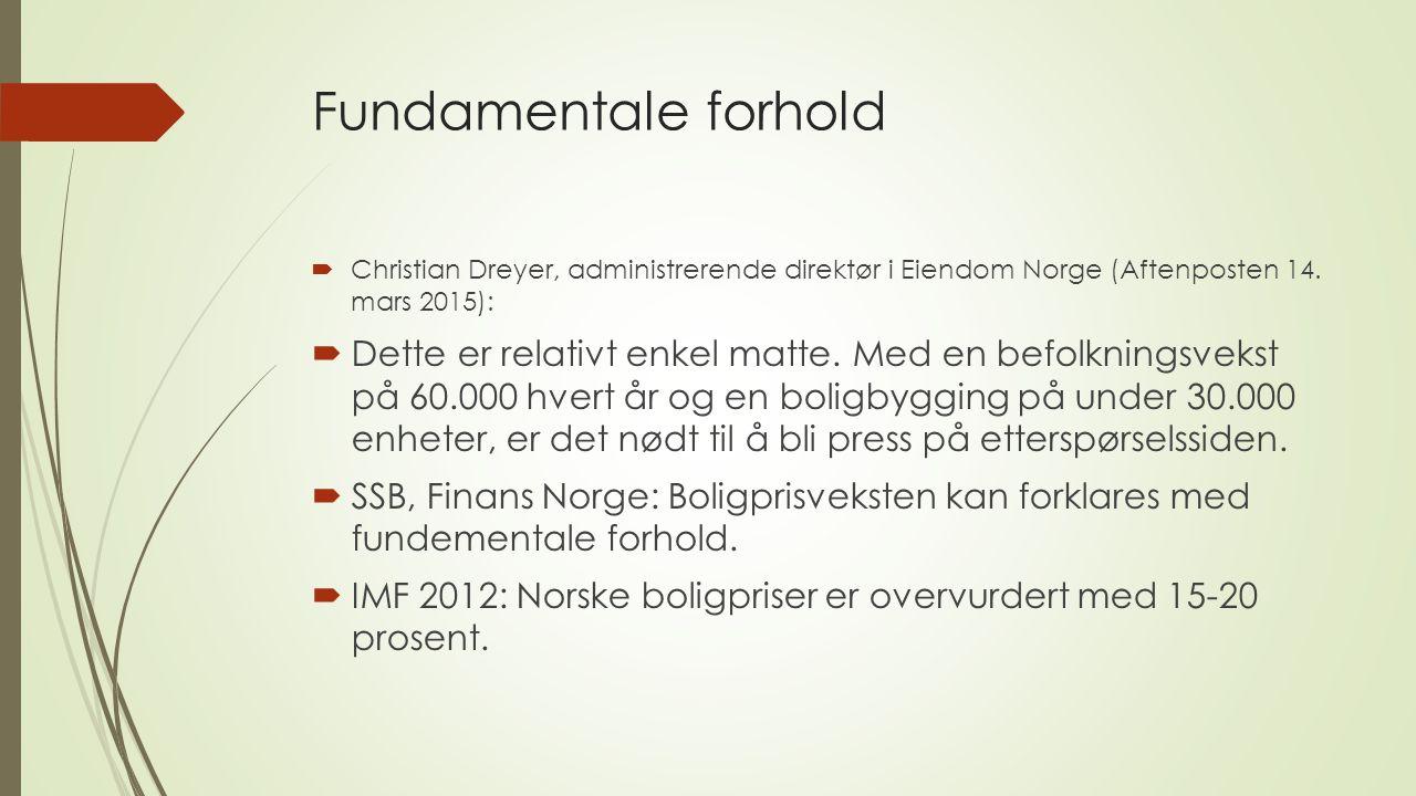 Fundamentale forhold  Christian Dreyer, administrerende direktør i Eiendom Norge (Aftenposten 14.