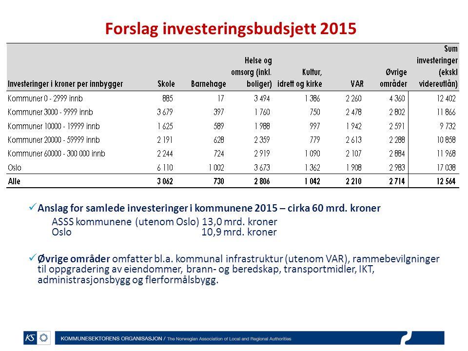 Forslag investeringsbudsjett 2015 Anslag for samlede investeringer i kommunene 2015 – cirka 60 mrd.
