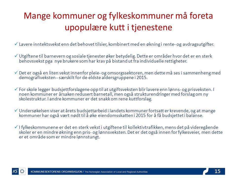 15 Mange kommuner og fylkeskommuner må foreta upopulære kutt i tjenestene Lavere inntektsvekst enn det behovet tilsier, kombinert med en økning i rente- og avdragsutgifter.