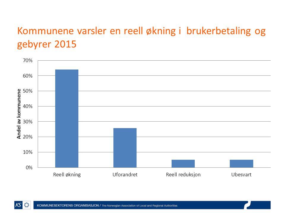 Kommunene varsler en reell økning i brukerbetaling og gebyrer 2015