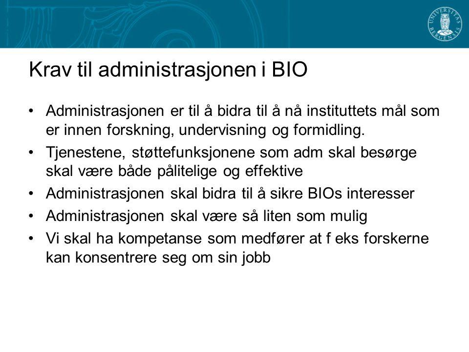 Krav til administrasjonen i BIO Administrasjonen er til å bidra til å nå instituttets mål som er innen forskning, undervisning og formidling. Tjeneste