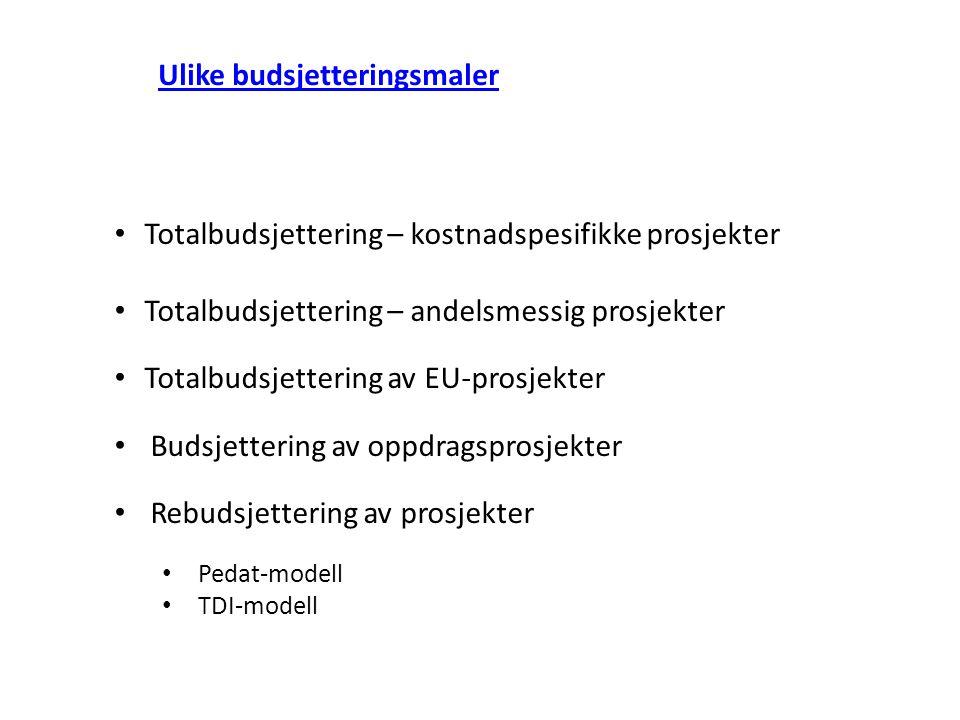 Totalbudsjettering – kostnadspesifikke prosjekter Totalbudsjettering – andelsmessig prosjekter Totalbudsjettering av EU-prosjekter Budsjettering av op