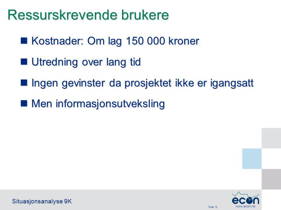 Side 12 Situasjonsanalyse 9K www.econ.no Ressurskrevende brukere Kostnader: Om lag 150 000 kroner Kostnader: Om lag 150 000 kroner Utredning over lang