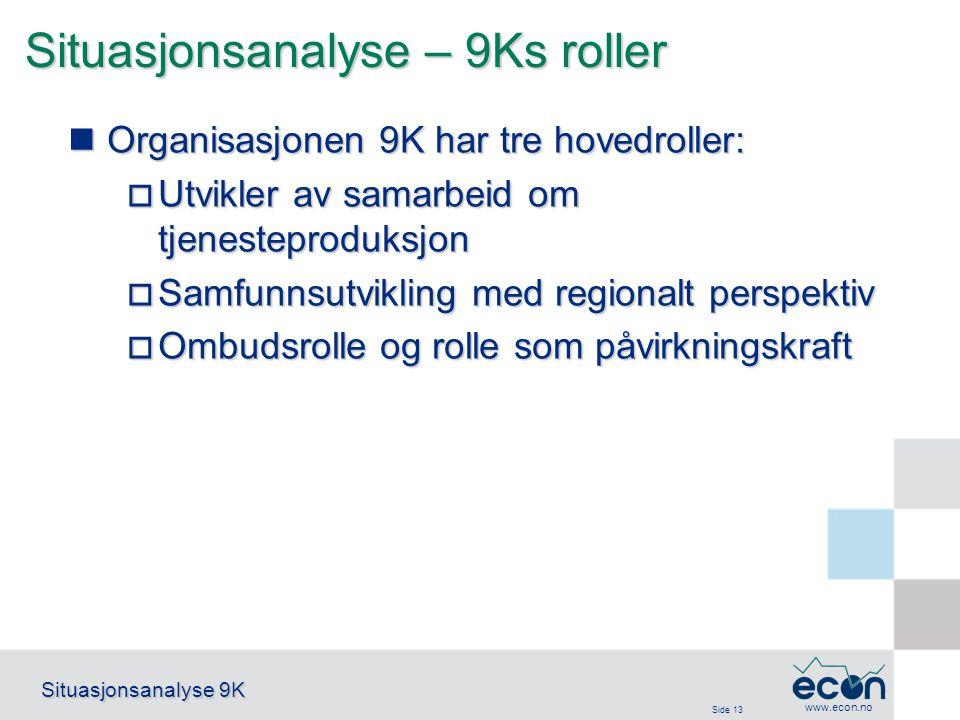 Side 13 Situasjonsanalyse 9K www.econ.no Situasjonsanalyse – 9Ks roller Organisasjonen 9K har tre hovedroller: Organisasjonen 9K har tre hovedroller: