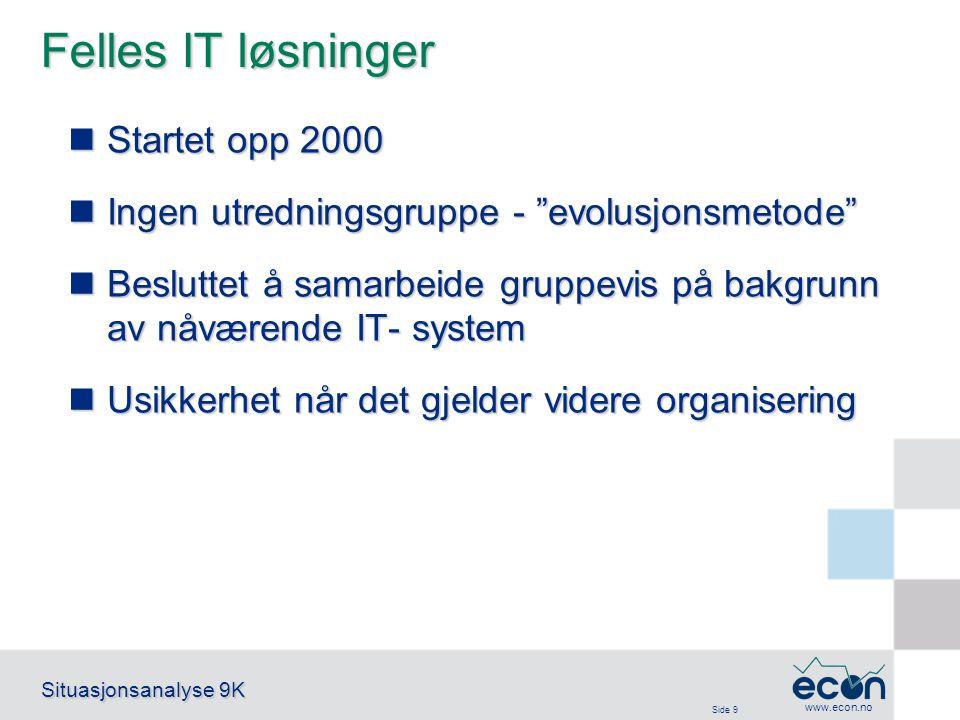 """Side 9 Situasjonsanalyse 9K www.econ.no Felles IT løsninger Startet opp 2000 Startet opp 2000 Ingen utredningsgruppe - """"evolusjonsmetode"""" Ingen utredn"""