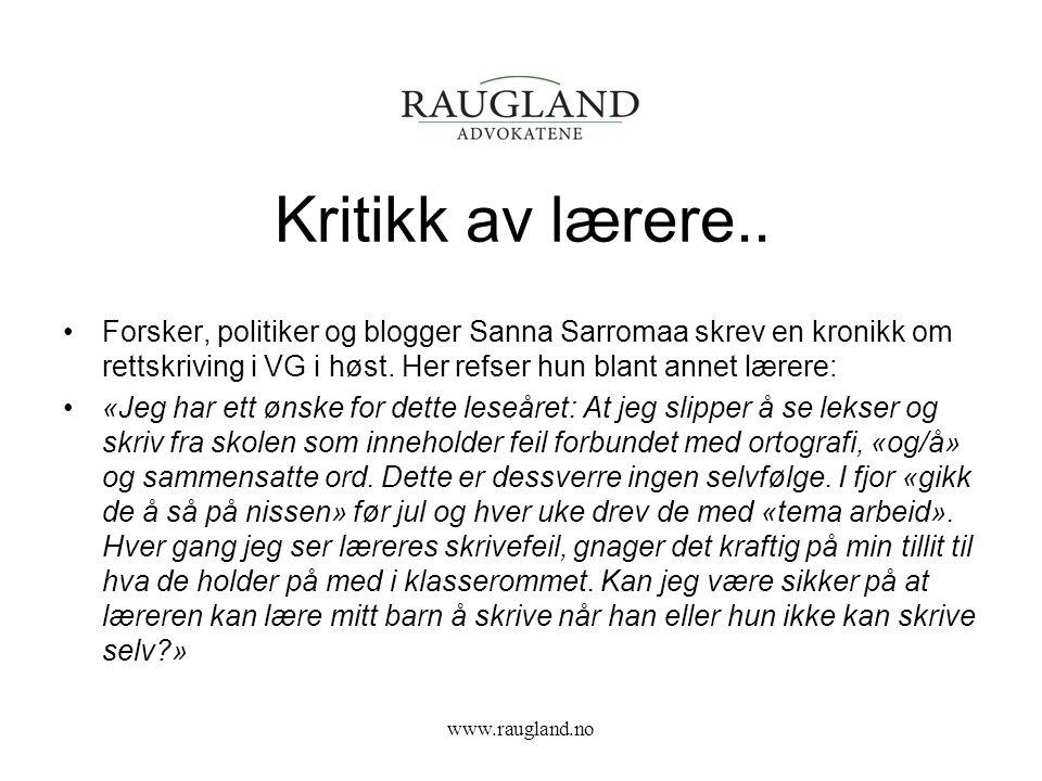 VG kronikk ble påklaget.. www.raugland.no