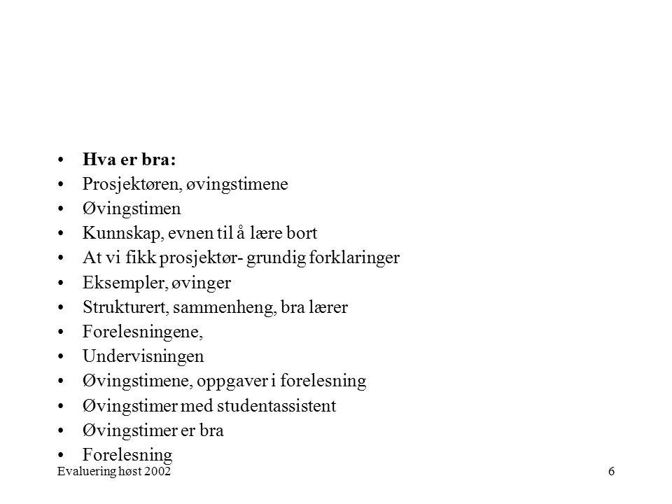 Evaluering høst 20027 Hva er bra: Bra bok i faget Forelesningene Tilpasser undervisningen Boka Timene