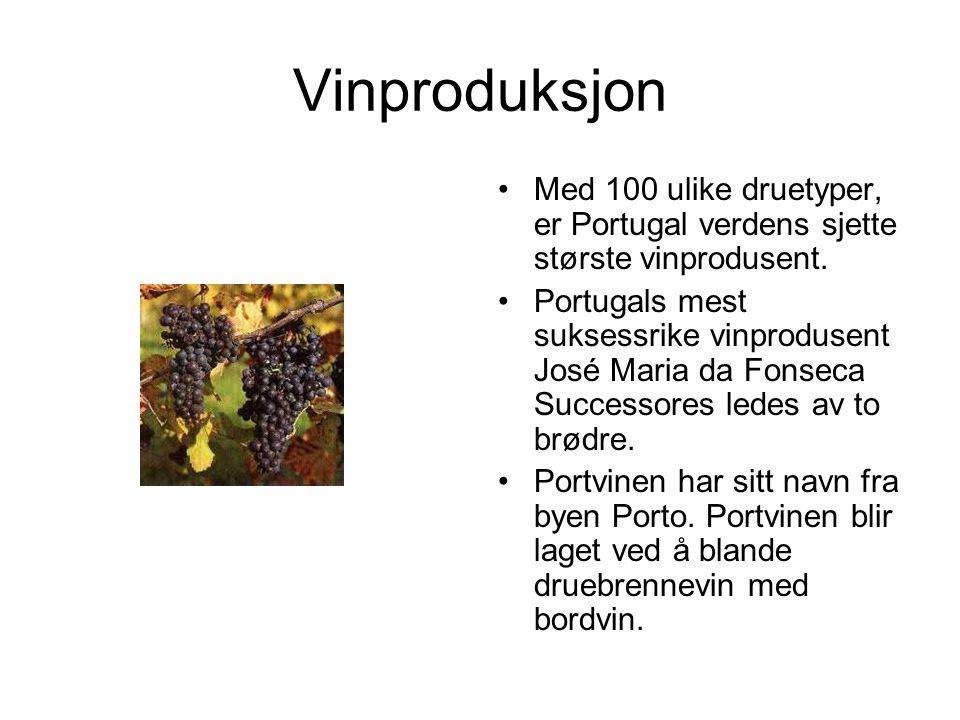 Vinproduksjon Med 100 ulike druetyper, er Portugal verdens sjette største vinprodusent.
