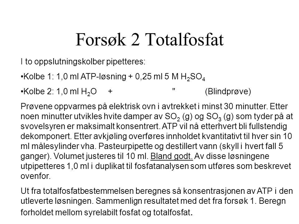 Forsøk 2 Totalfosfat I to oppslutningskolber pipetteres: Kolbe 1: 1,0 ml ATP-løsning + 0,25 ml 5 M H 2 SO 4 Kolbe 2: 1,0 ml H 2 O + (Blindprøve) Prøvene oppvarmes på elektrisk ovn i avtrekket i minst 30 minutter.
