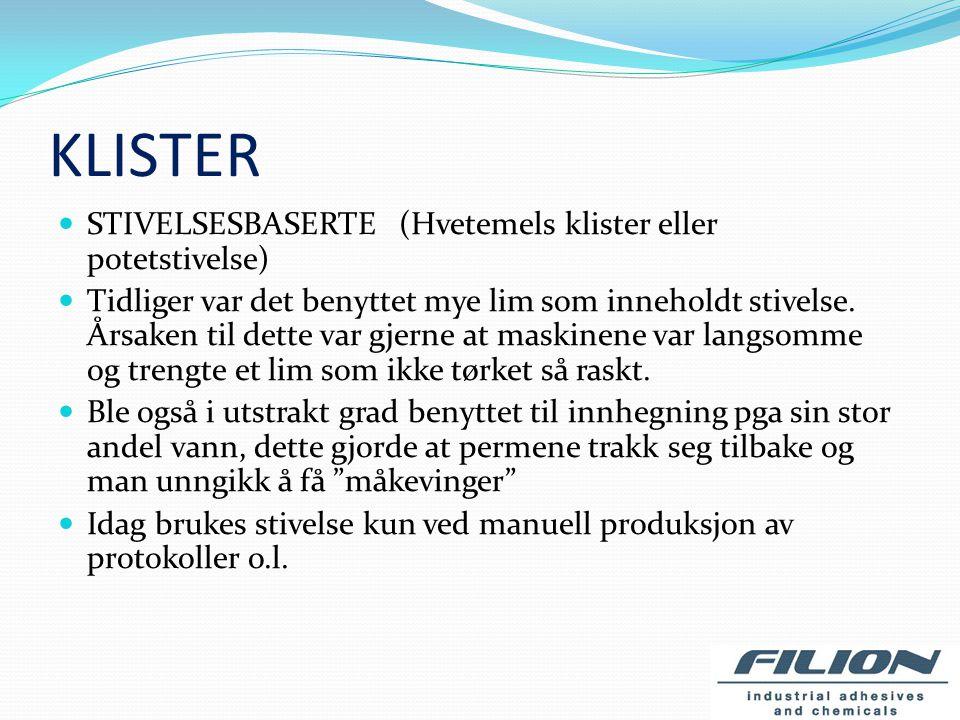DISPERSJONSLIM DISPERSJONSLIM (plastpolymerer, homopolymerer eller copolymerer dispergert i vann) For produksjon av heftede bøker av høy kvalitet blir