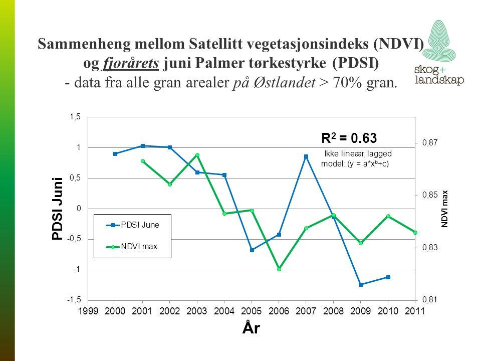 Sammenheng mellom Satellitt vegetasjonsindeks (NDVI) og fjorårets juni Palmer tørkestyrke (PDSI) - data fra alle gran arealer på Østlandet > 70% gran.
