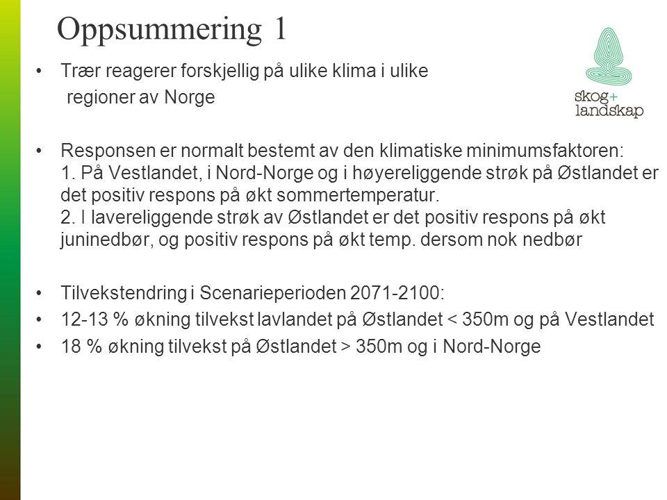 Oppsummering 1 Trær reagerer forskjellig på ulike klima i ulike regioner av Norge Responsen er normalt bestemt av den klimatiske minimumsfaktoren: 1.