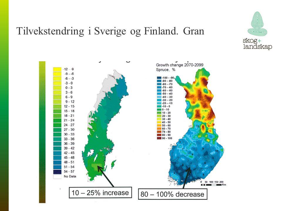 Tilvekstendring i Sverige og Finland. Gran