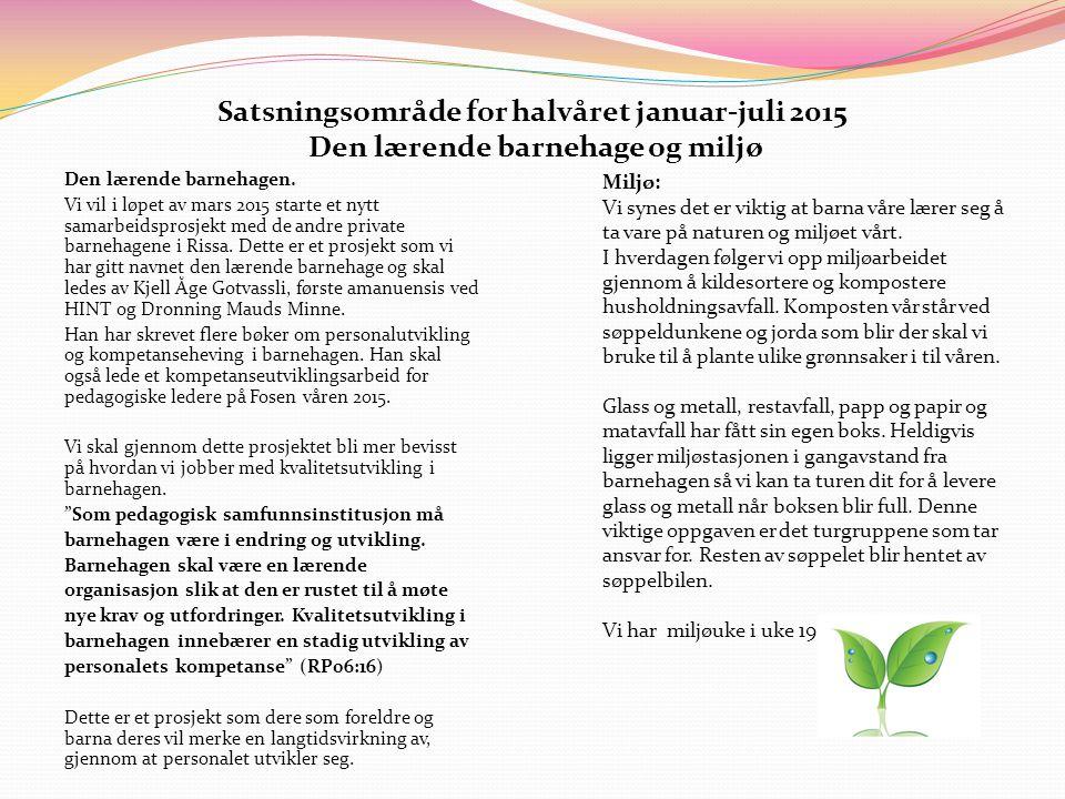 Satsningsområde for halvåret januar-juli 2015 Den lærende barnehage og miljø Den lærende barnehagen. Vi vil i løpet av mars 2015 starte et nytt samarb