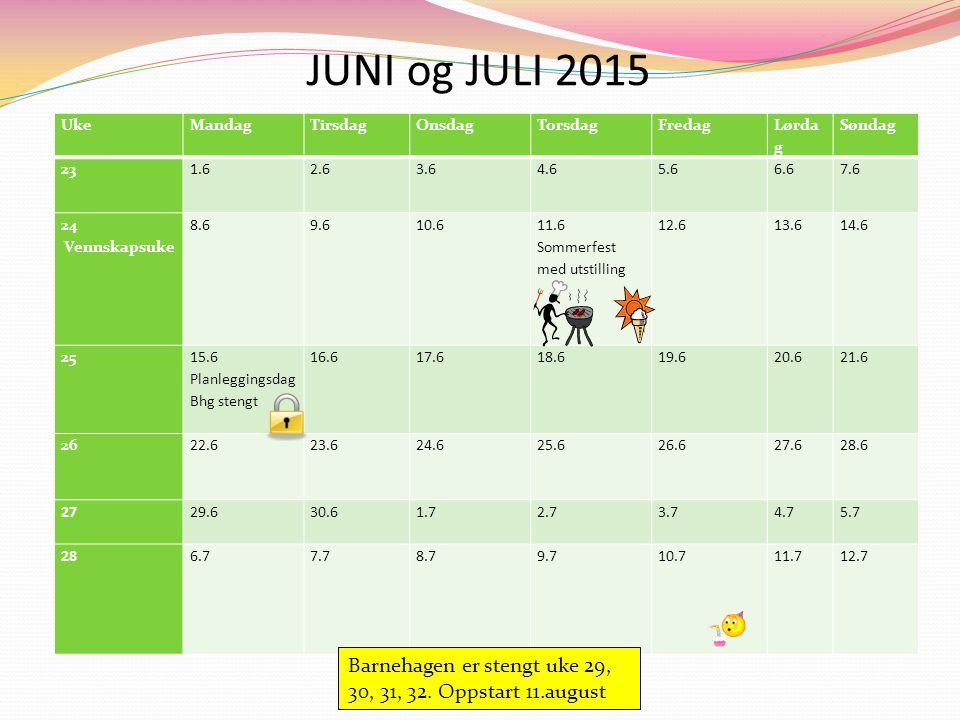 UkeMandagTirsdagOnsdagTorsdagFredag Lørda g Søndag 23 1.62.63.6 4.65.6 6.67.6 24 Vennskapsuke 8.69.6 10.6 11.6 Sommerfest med utstilling 12.6 13.614.6