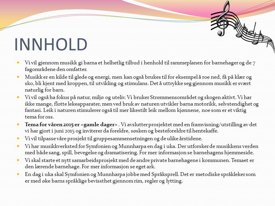INNHOLD Vi vil gjennom musikk gi barna et helhetlig tilbud i henhold til rammeplanen for barnehager og de 7 fagområdene den omfatter.