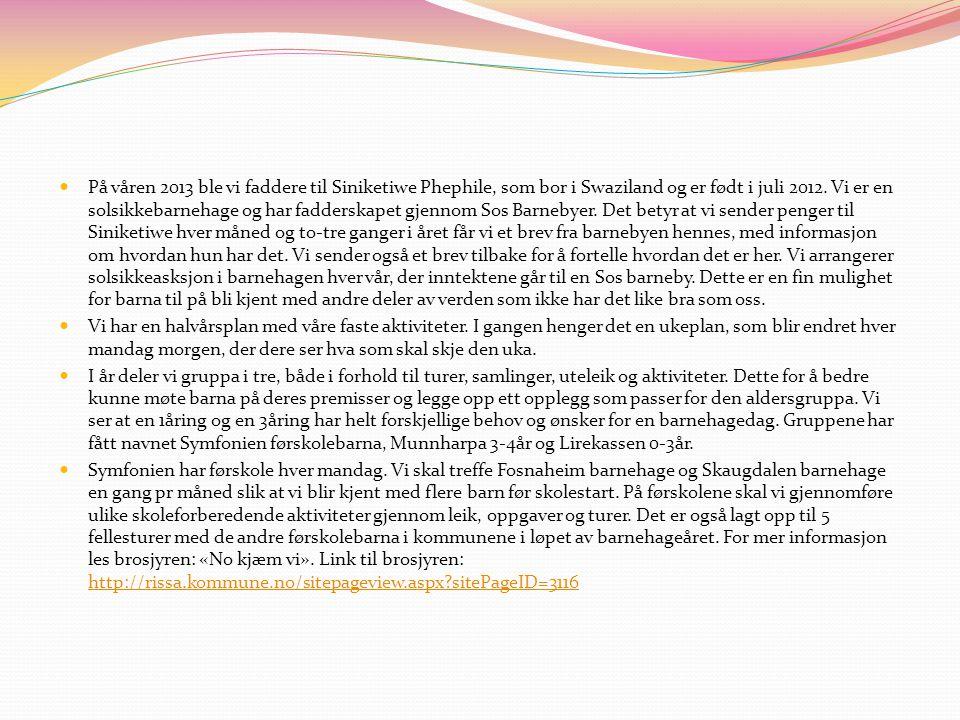 På våren 2013 ble vi faddere til Siniketiwe Phephile, som bor i Swaziland og er født i juli 2012. Vi er en solsikkebarnehage og har fadderskapet gjenn