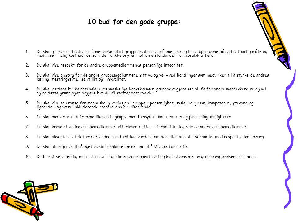 10 bud for den gode gruppa: 1.Du skal gjøre ditt beste for å medvirke til at gruppa realiserer målene sine og løser oppgavene på en best mulig måte og med minst mulig kostnad, dersom dette ikke bryter mot dine standarder for moralsk atferd.