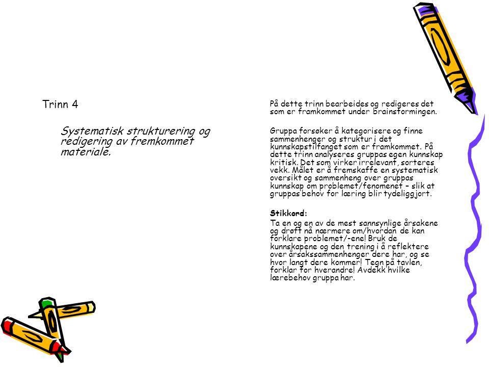 Trinn 4 Systematisk strukturering og redigering av fremkommet materiale.