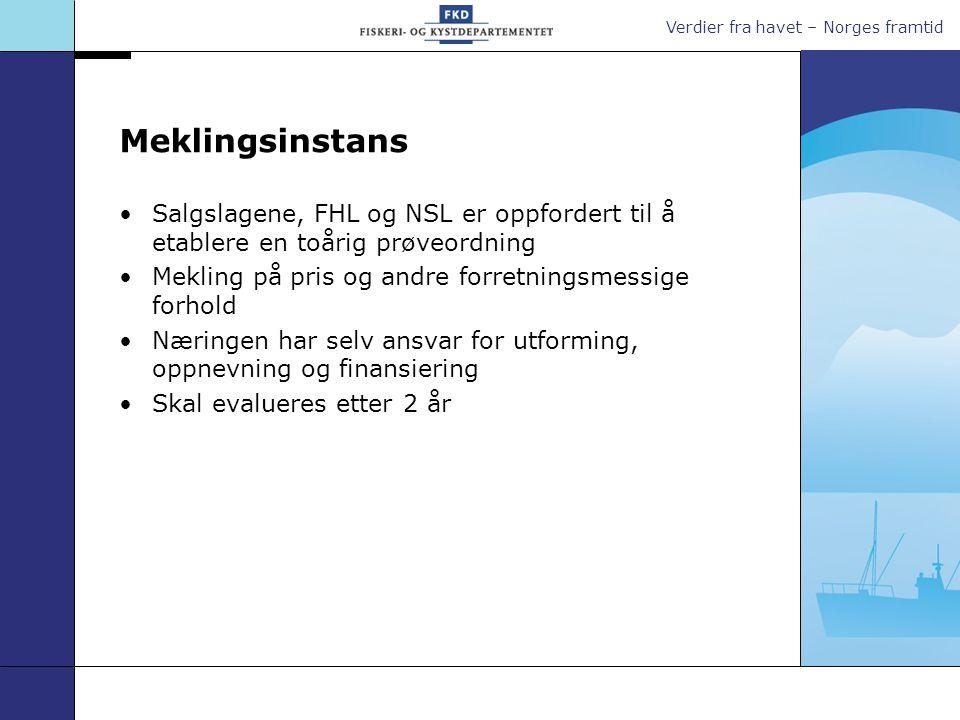 Verdier fra havet – Norges framtid Meklingsinstans Salgslagene, FHL og NSL er oppfordert til å etablere en toårig prøveordning Mekling på pris og andr
