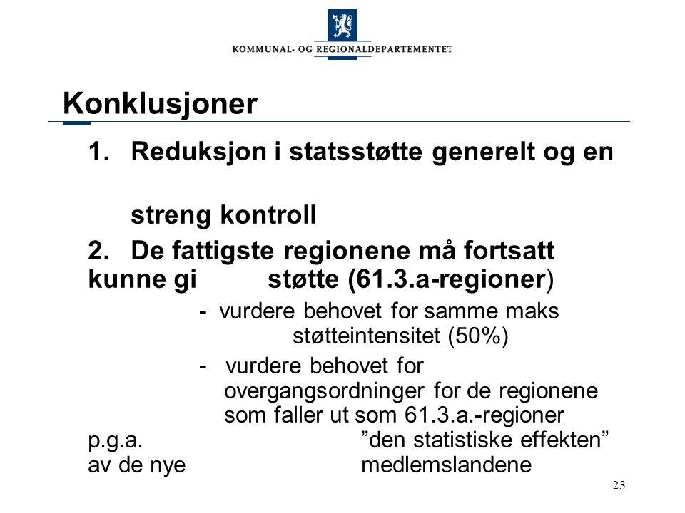 23 Konklusjoner 1.Reduksjon i statsstøtte generelt og en streng kontroll 2.De fattigste regionene må fortsatt kunne gi støtte (61.3.a-regioner) - vurdere behovet for samme maks støtteintensitet (50%) - vurdere behovet for overgangsordninger for de regionene som faller ut som 61.3.a.-regioner p.g.a.