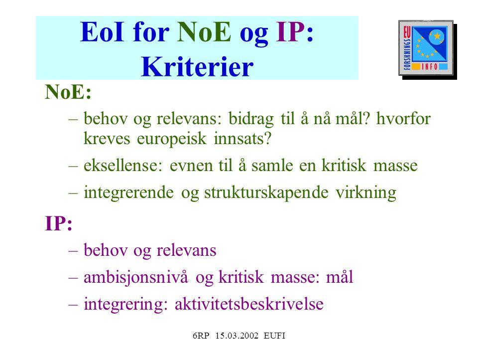 6RP 15.03.2002 EUFI EoI for NoE og IP: Kriterier NoE: –behov og relevans: bidrag til å nå mål.