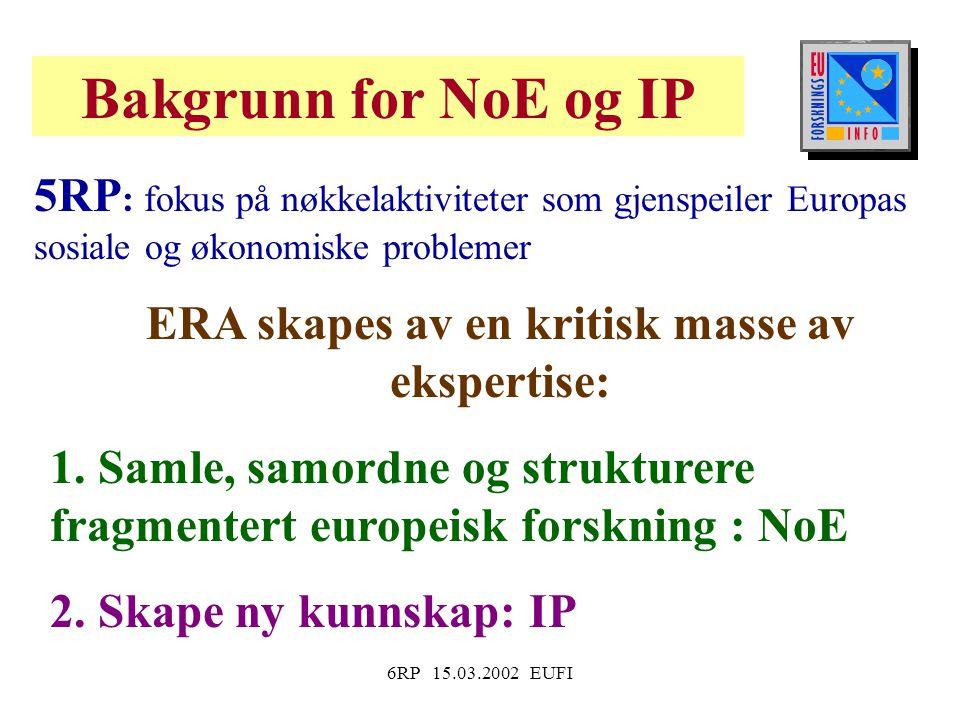 6RP 15.03.2002 EUFI 5RP : fokus på nøkkelaktiviteter som gjenspeiler Europas sosiale og økonomiske problemer ERA skapes av en kritisk masse av ekspertise: 1.