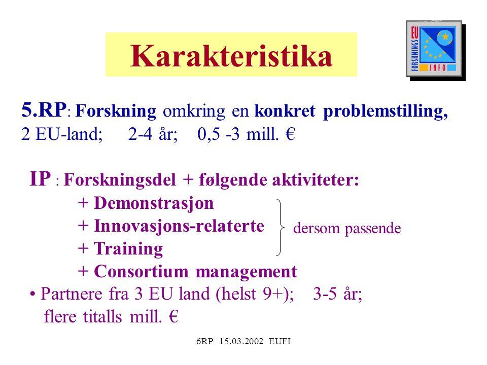 6RP 15.03.2002 EUFI Karakteristika 5.RP : Forskning omkring en konkret problemstilling, 2 EU-land; 2-4 år; 0,5 -3 mill.