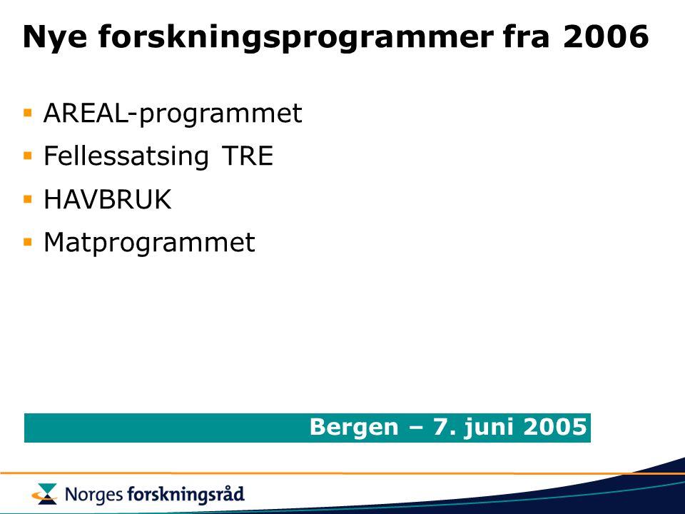Nye forskningsprogrammer fra 2006  AREAL-programmet  Fellessatsing TRE  HAVBRUK  Matprogrammet Bergen – 7. juni 2005
