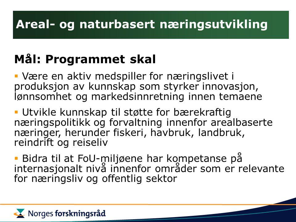 Areal- og naturbasert næringsutvikling Mål: Programmet skal  Være en aktiv medspiller for næringslivet i produksjon av kunnskap som styrker innovasjo