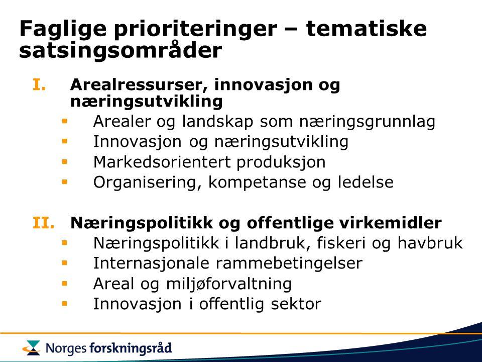 Faglige prioriteringer – tematiske satsingsområder I.Arealressurser, innovasjon og næringsutvikling  Arealer og landskap som næringsgrunnlag  Innova