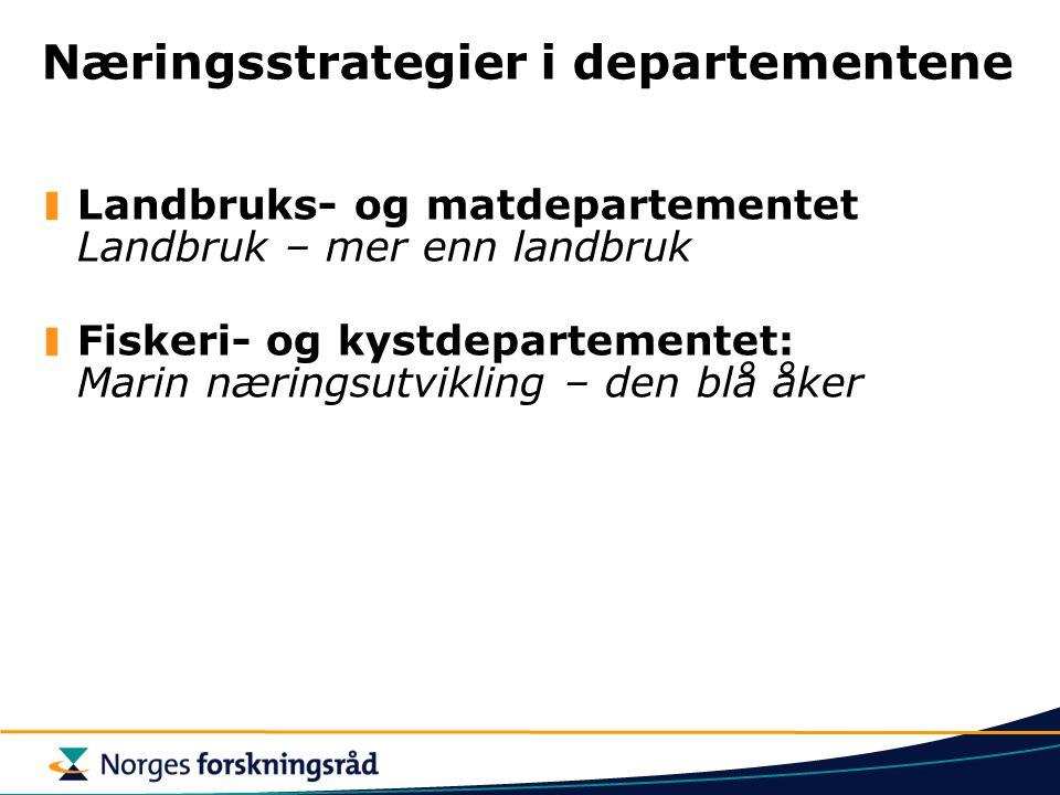 Næringsstrategier i departementene Landbruks- og matdepartementet Landbruk – mer enn landbruk Fiskeri- og kystdepartementet: Marin næringsutvikling –