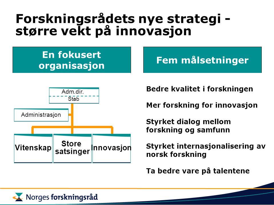 Forskningsrådets nye strategi - større vekt på innovasjon En fokusert organisasjon Fem målsetninger Bedre kvalitet i forskningen Mer forskning for inn