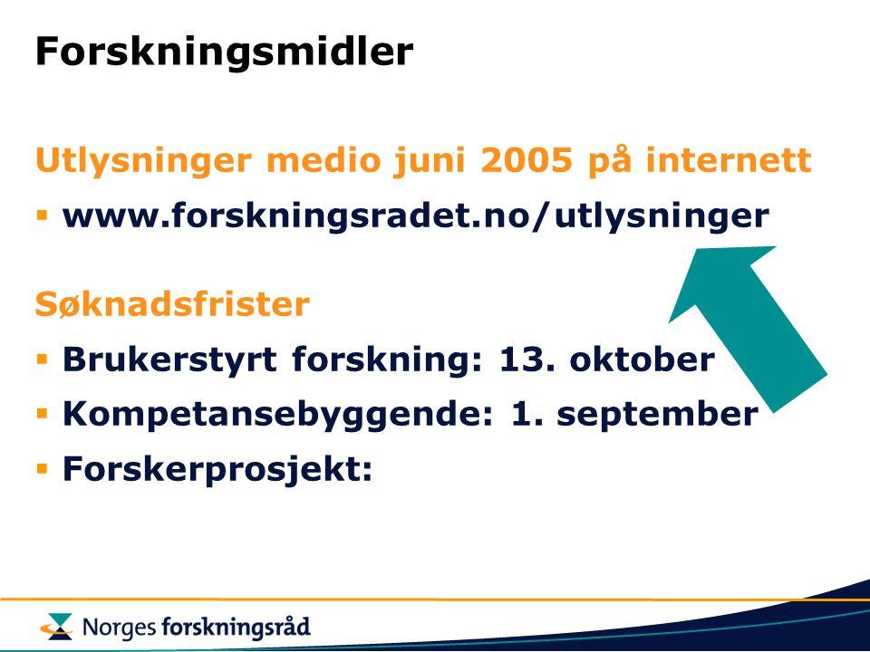 Forskningsmidler Utlysninger medio juni 2005 på internett  www.forskningsradet.no/utlysninger Søknadsfrister  Brukerstyrt forskning: 13. oktober  K
