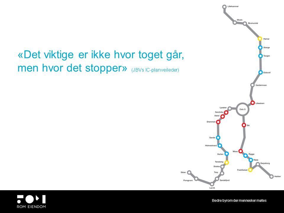 Bedre byrom der mennesker møtes Til intern diskusjon 10.2.14 «Det viktige er ikke hvor toget går, men hvor det stopper» (JBVs IC-planveileder)