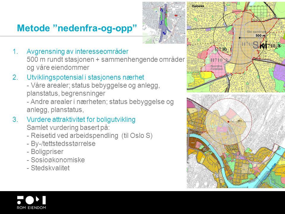 """Metode """"nedenfra-og-opp"""" 1.Avgrensning av interesseområder 500 m rundt stasjonen + sammenhengende områder og våre eiendommer 2.Utviklingspotensial i s"""