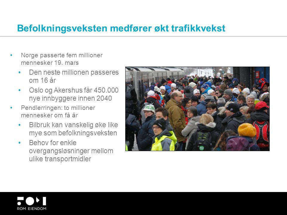 Befolkningsveksten medfører økt trafikkvekst Norge passerte fem millioner mennesker 19. mars Den neste millionen passeres om 16 år Oslo og Akershus få