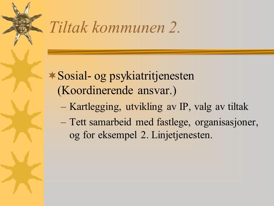Tiltak i kommunene 1.  Lavterskel helse (Helsestasjon rus)  Lavterskel arbeid (Dagsverket)  Lavterskel bolig  Kontakten  Samarbeidet med brukere/