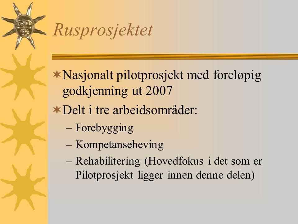 Rusprosjektet  Nasjonalt pilotprosjekt med foreløpig godkjenning ut 2007  Delt i tre arbeidsområder: –Forebygging –Kompetanseheving –Rehabilitering (Hovedfokus i det som er Pilotprosjekt ligger innen denne delen)