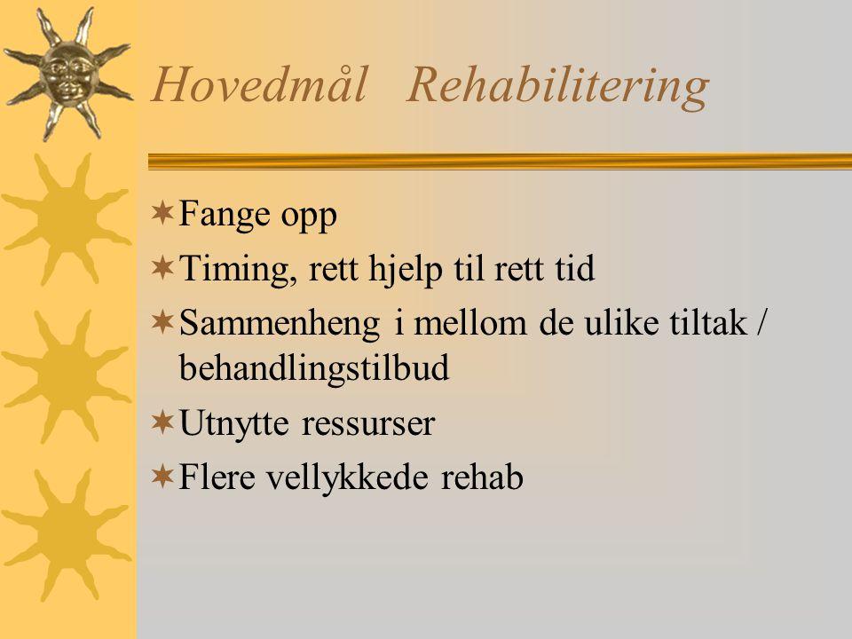 HovedmålRehabilitering  Fange opp  Timing, rett hjelp til rett tid  Sammenheng i mellom de ulike tiltak / behandlingstilbud  Utnytte ressurser  Flere vellykkede rehab